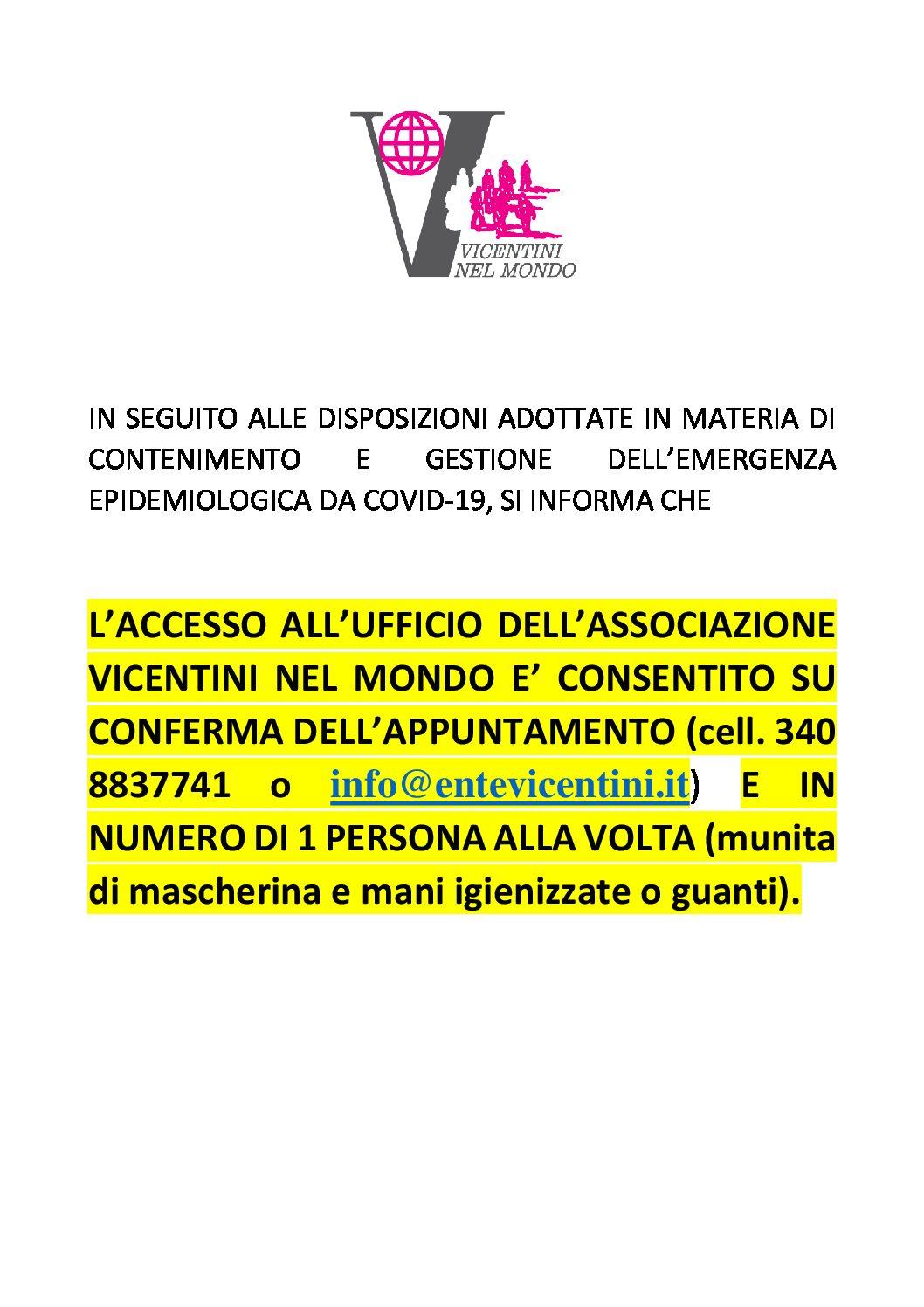 COVID 19 - MODALITA' DI ACCESSO ALLA SEDE DI VICENZA ...